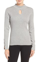 Wit And Wisdom Women's Lace Cuff Ribbed Keyhole Sweater