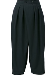 Comme Des Garcons High Waist Pleated Cropped Trousers Blue