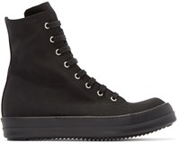 Rick Owens Black Canvas High Top Sneakers