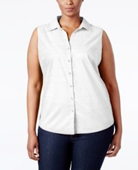 Karen Scott Plus Size Eyelet Button Down Shirt Only At Macy's Bright White