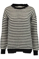 Rebecca Minkoff Worth Wrap Effect Striped Textured Knit Sweater Black