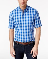 Club Room Men's Buffalo Check Short Sleeve Shirt Only At Macy's Pale Ink Blue