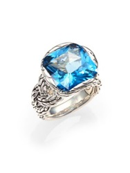 John Hardy Classic Chain London Blue Topaz And Sterling Silver Braided Ring