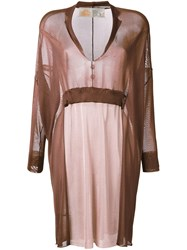 Theatre Products Semi Sheer Dropped Shoulder Dress Brown