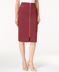 Grace Elements Zipper Front Pencil Skirt Burgundy W Gold Zip