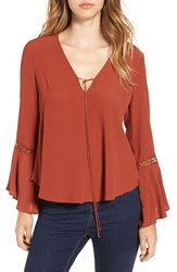 Astr Women's Crochet Trim Bell Sleeve Top Rust