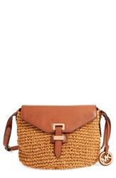 Michael Michael Kors 'Medium Naomi' Straw And Leather Messenger Bag