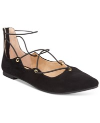 Material Girl Ibby Lace Up Flats Only At Macy's Women's Shoes Black