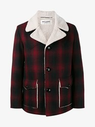 Saint Laurent Faux Shearling Buffalo Check Coat Black Red Cream Denim