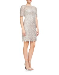 Kay Unger Sequined Sheath Dress Grey