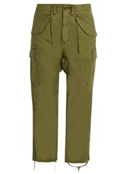 R 13 Cropped Cargo Trousers Khaki