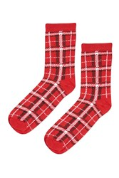 Topshop Check Red Ankle Socks Red
