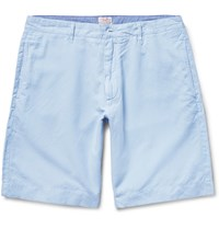 Faherty Linen And Cotton Blend Shorts Blue