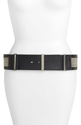 Lafayette 148 New York Chain Detail Wide Leather Belt Black
