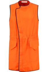 Marni Oversized Cotton Pique Gilet Bright Orange