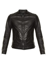 Dolce And Gabbana Zip Up Leather Bomber Jacket Black