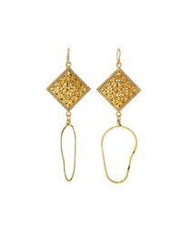Devon Leigh Pave Filigree Cushion Double Drop Earrings Women's