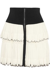 Isabel Marant Roscoe Beaded Tiered Cotton Voile Mini Skirt Cream