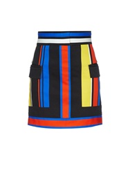 Balmain Striped Stretch Cotton Denim Mini Skirt