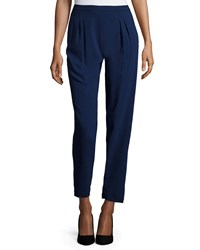 Zac Zac Posen Easy Pleated Front Cropped Pants Navy
