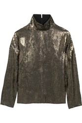 Tibi Sequined Silk Chiffon Top Army Green