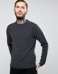 Asos Lambswool Rich Crew Neck Jumper In Charcoal Charcoal Grey