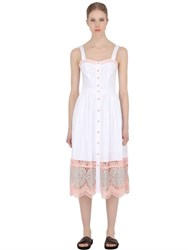 Temperley London Cotton Poplin And Silk Lace Dress
