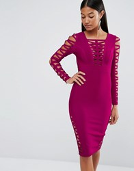Wow Couture Bandage Ladder Insert Dress Wine Pink