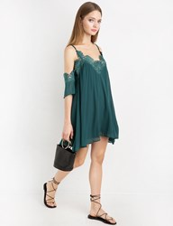 Pixie Market Emerald Chiffon Lace Pleated Off The Shoulder Dress
