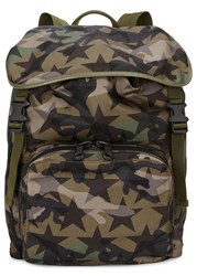 Valentino Camouflage Print Leather Trimmed Backpack Green
