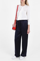 Elizabeth And James Silk Satin Trousers Navy