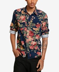Denim And Supply Ralph Lauren Men's Floral Corduroy Cowboy Long Sleeve Shirt Navy