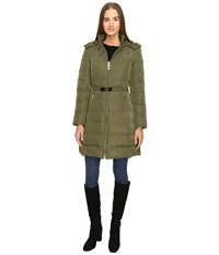Kate Spade Hooded Hard Down Coat W Faux Fur Trim 36 Loden Women's Coat Green