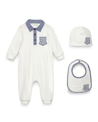 Gucci Crest Trim Coverall Bib And Baby Hat White Blue Size 0 18 Months