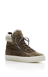 Giuseppe Zanotti Shearling High Top Sneakers Dark Grey