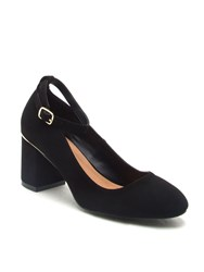 Qupid Melba Block Heel Court Shoe Black