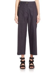 Rag And Bone Grace Cropped Cotton Pants Indigo