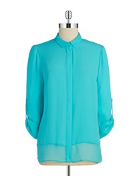 T Tahari Chiffon Button Front Blouse Splash