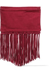 Maje Sahel Fringed Suede Clutch Red
