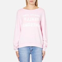 Wildfox Couture Women's Really Awesome Baggy Beach Sweatshirt Pouty Pink