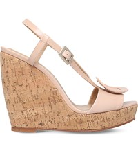 Roger Vivier Buckled Leather Wedges Nude