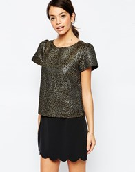 Traffic People Bonnie Top In Jacquard Gold
