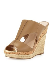 Charles By Charles David Abacus Cutout Leather Wedge Sandal Nude