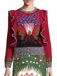 Valentino Wool And Cashmere Embroidered Ruffle Detail Sweater