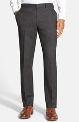 Men's Wallin And Bros. Flat Front Solid Cotton Blend Trousers Charcoal