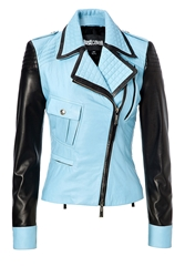 Just Cavalli Leather Two Tone Biker Jacket