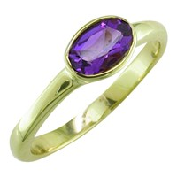 Ewa 9Ct Yellow Gold Oval Ring Amethyst