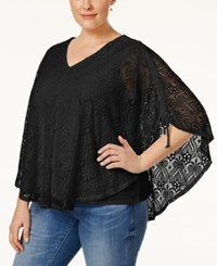 Styleandco. Style And Co. Short Sleeve Lace Poncho Blouse Only At Macy's Deep Black