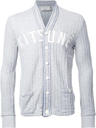 Maison Kitsune Striped Cardigan Grey
