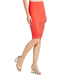 Bcbgeneration Open Mesh Pencil Skirt Bright Coral